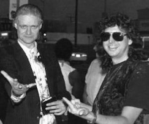 Cave Hollywood's David Kessel with Kim Fowley in Los Angeles circa 1993 Photo by Harold Sherrick