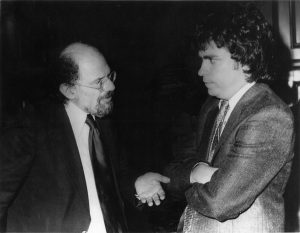 Allen Ginsberg and Harvey Kubernik 1982. Los Angeles, Ca. Photo by Suzan Carson